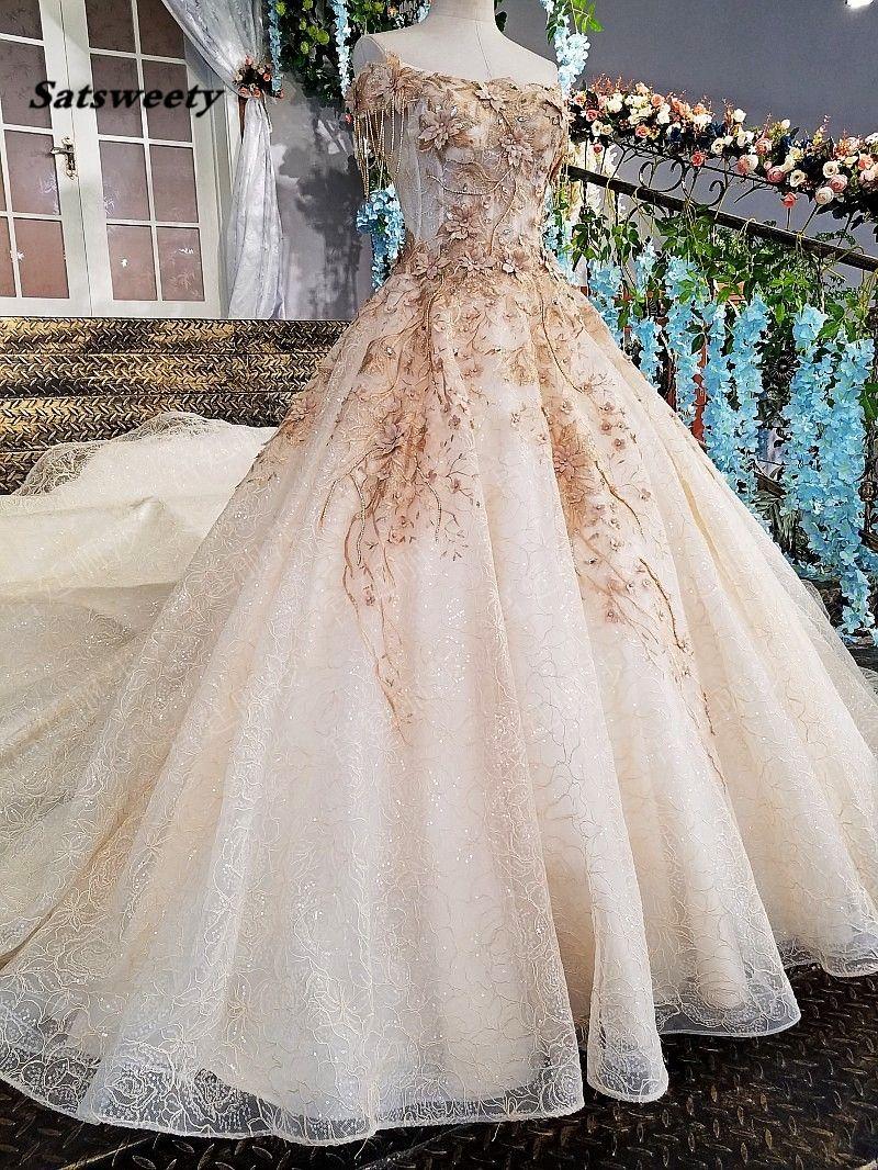e66533a5260 Luxury Dubai 3D Flower Wedding Dresses 2019 Crystal Pearls Casamento Lace  Puffy Bridal Gowns Robe De Mariee Vestido De Noiva Luxury Dubai 3D Flower  Wedding ...