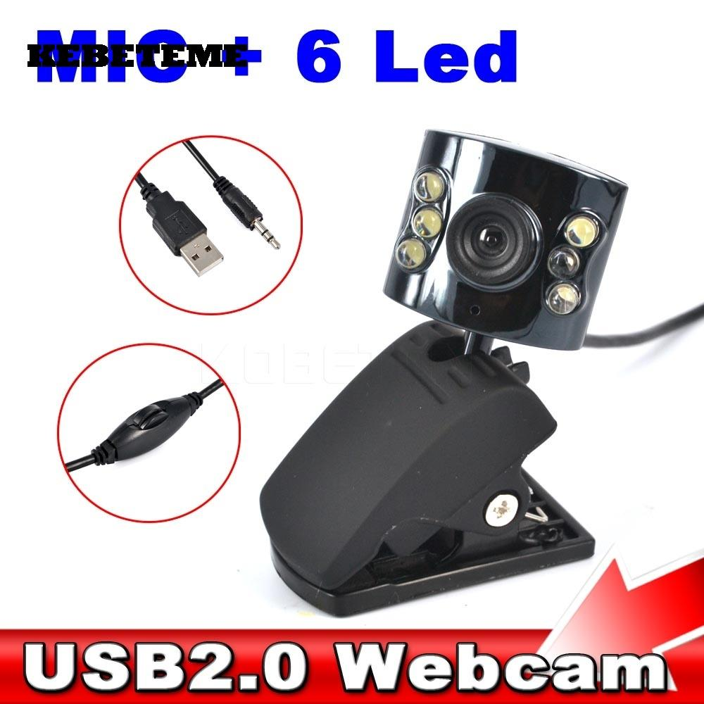 KEBETEME HD 30 0 Mega Pixel USB 2 0 Camera Webcam 6 Led Light Dimmer 30M  With Mic Microphone for PC Computer Laptop Desktop
