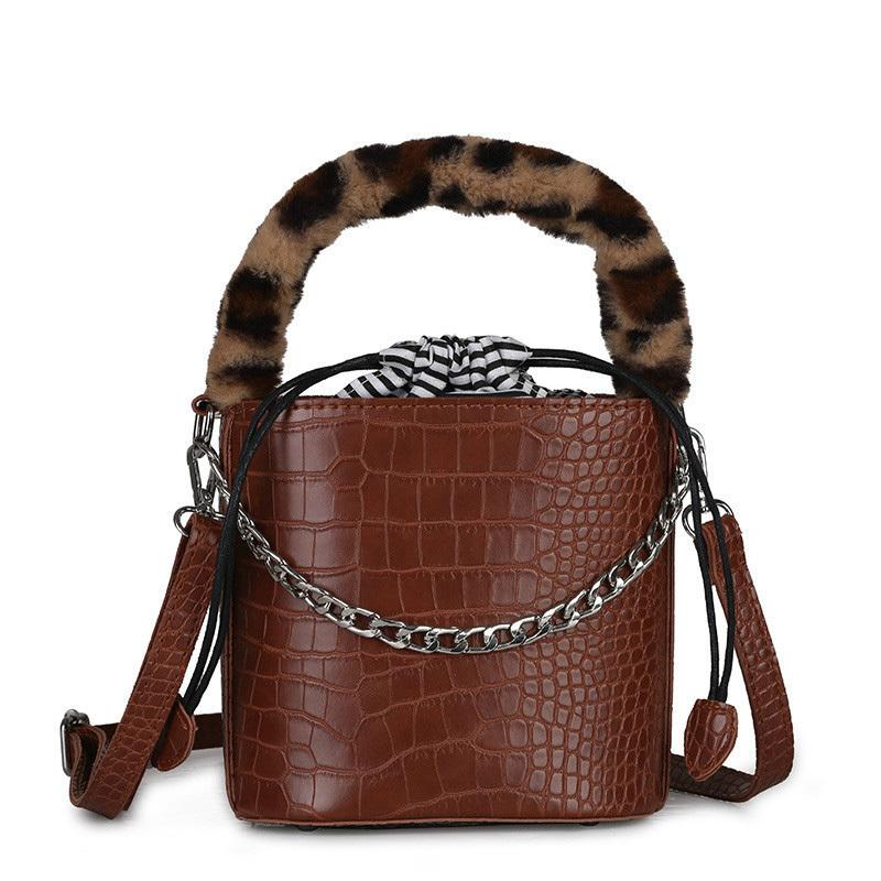 Vintage Fashion Ladies Bucket Bag 2019 New Quality Pu Leather Women's Designer Handbag Chain Plush Tote Shoulder Messenger Bags