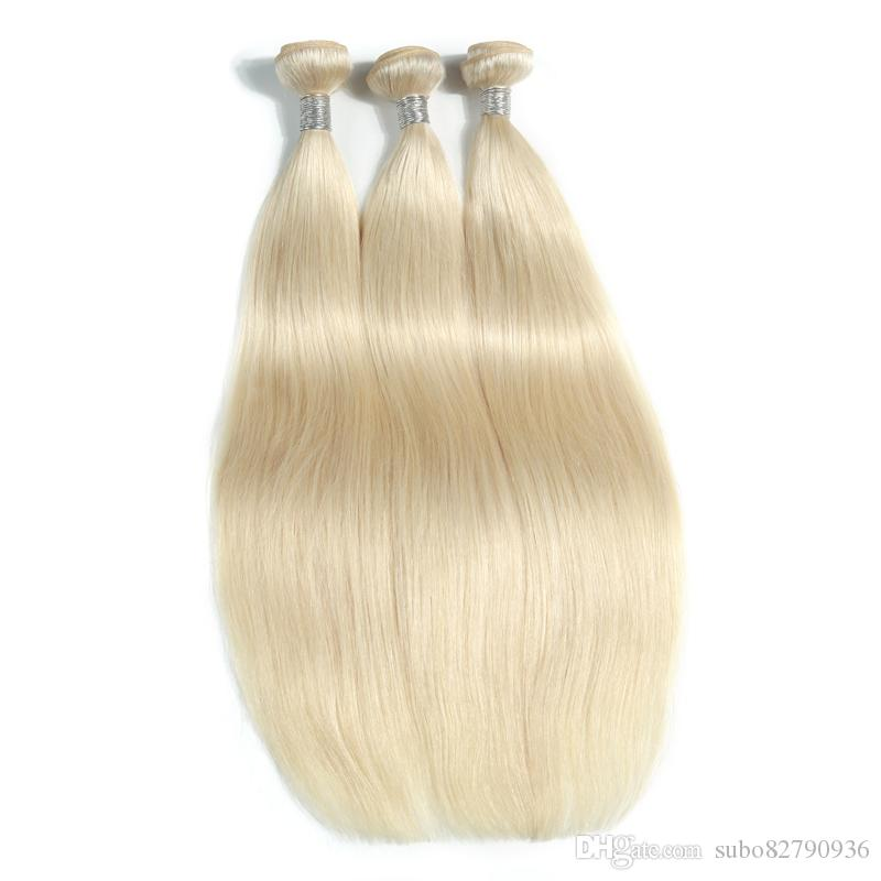 The New Style Of Platinum Blonde Peruvian Virgin Straight Hair Bundles 10-30 Inchs Brazilian Hair Weave Remy Human Hair Extensions