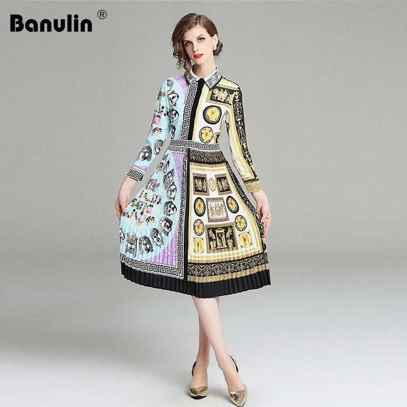 ab76c5d1bf Banulin Catwalk New High Quality Runway Designer 2018 Autumn Fashion Women S  Party Office Girls Flower Print Long Sleeved Dress D190111205 Special  Occasion ...