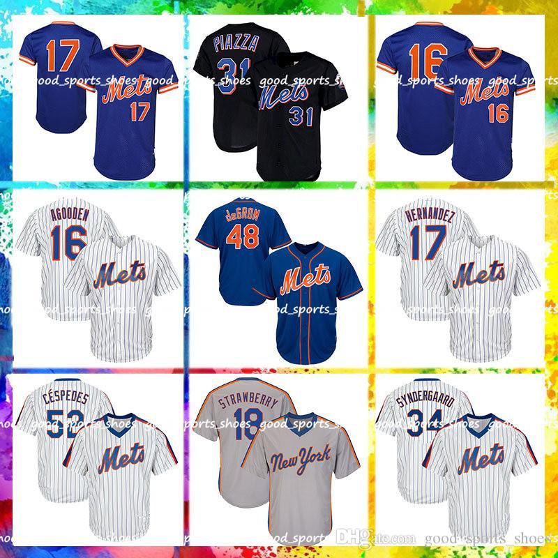 lowest price 4e35b e8037 New York Mets Jersey 48 Jacob deGrom Jersey 34 Noah Syndergaard Jersey 18  Darryl Strawberry 52 Cespedes Majestic 16 Dwight