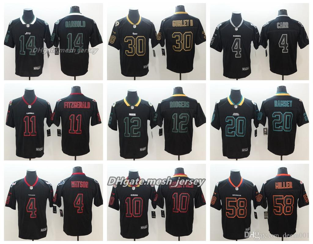 on sale f577f efa39 Black Shadow New York Jets Jersey Los Angeles Rams Denver Broncos Cardinals  Patriots Panthers Oakland Raiders Color Rush Football Jerseys