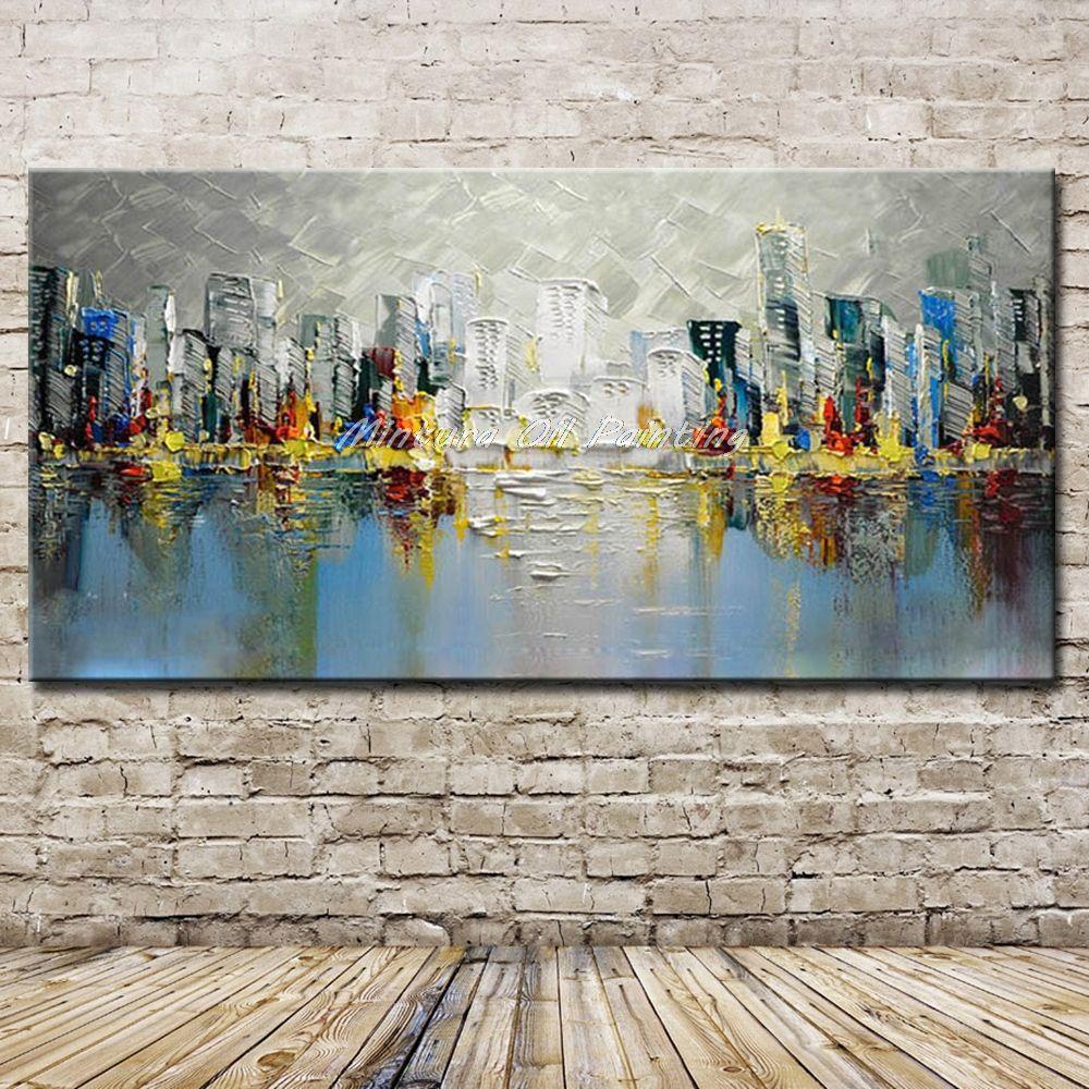 Mintura De Gran Tamaño Pintado A Mano Edificio De La Ciudad Paisaje Pintura Al óleo Sobre Lienzo Moderno Abstracto Cartel De La Imagen De Pared Para