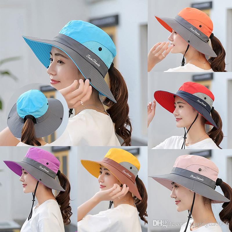 70a33fc91 Women's Ponytail Safari Sun Hats For Women With UV Protection Wide Brim  Outdoor Foldable Bucket Hat