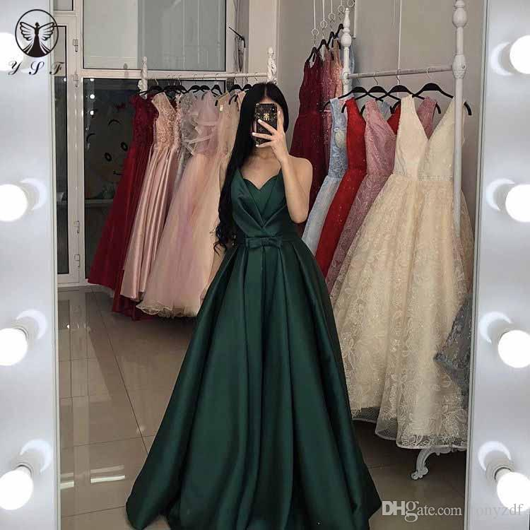 8b1f667bb86e New Arrival Prom Dresses Dark Green Off The Shoulder Sleeveless Pleated  Bowknot Long Party Gown 2019 Designer Dresses Dresses For Women From  Tonyzdf, ...