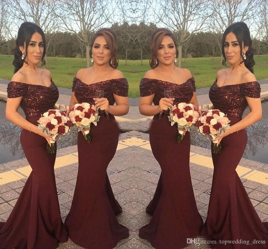 58ef029152 Burgundy Country Bridesmaid Dresses Mermaid Sequins Top Elastic Satin Skirt  Off The Shoulder Wedding Party Maid Of Honor Dresses Plus Size Watters ...