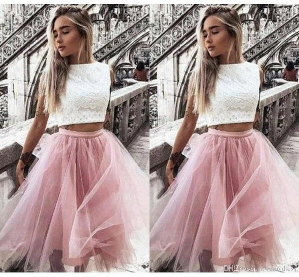 Two Pieces Short Graduation Prom Dresses White Lace Pink Tulle Jewel Cap Sleeve Homecoming Dress Evening Gowns Formal Party Cocktail Dress