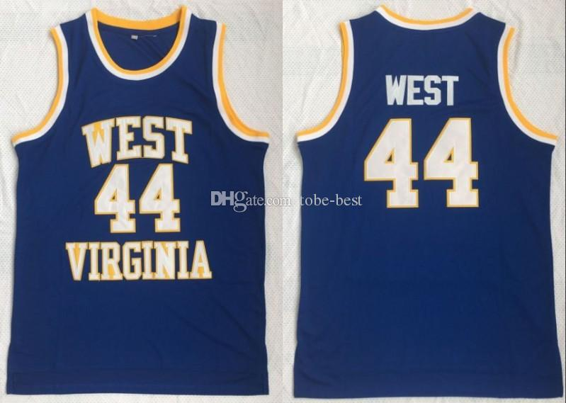 huge discount 94985 aa7c8 NCAA West Virginia Mountaineers #44 Jerry West College Jerseys Retro high  School Basketball blue Stitched Vintage Jersey S-3XL