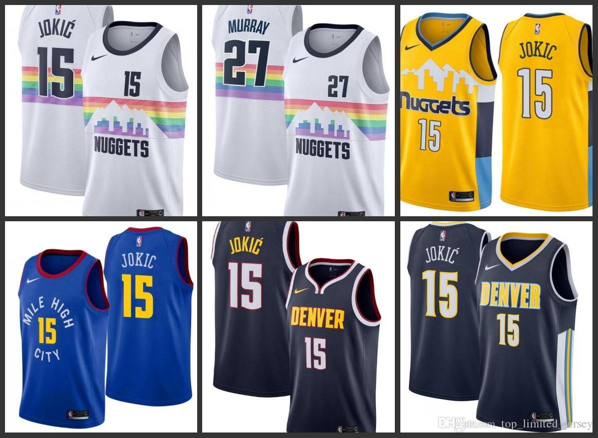 the best attitude 94a47 fe80b 18-19 Season New Styles Denver Mens Nuggets Jersey Jamal Murray Nikola  Jokic City Jerseys Edition