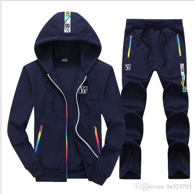 2019 conjunto de hombres ropa de algodón ropa deportiva informal chándales sudadera conjuntos gimnasios con capucha pantalones conjuntos hombre