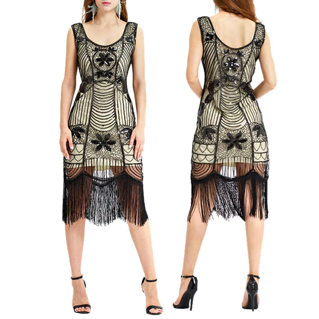 6d9b84c99b6 New Spring Summer Fashion Women Vintage 1920s Bead Fringe Glitter Sequin Lace  Party Flapper Cocktail Sexy Dress For Female Bride Dress White Prom Dress  From ...