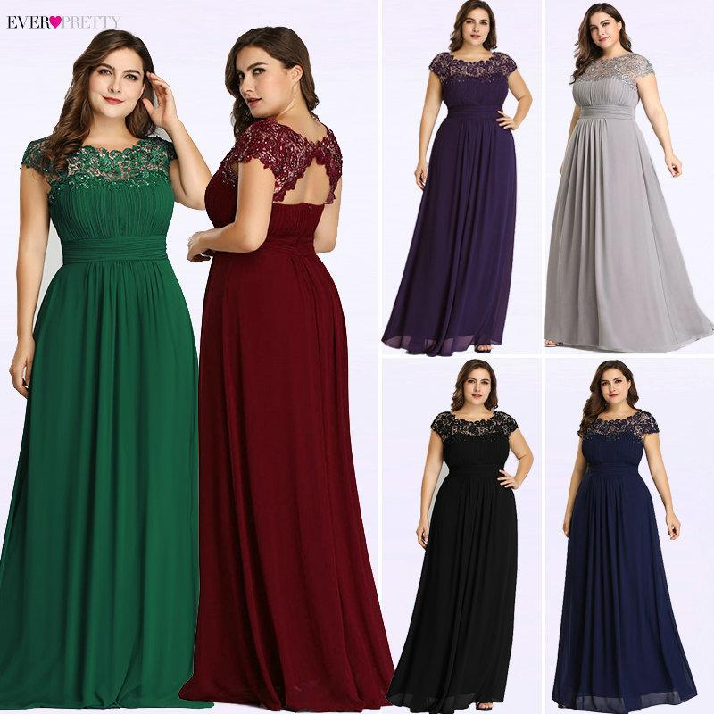 Ever Pretty Plus Size Evening Dresses 2019 New Arrival Elegant A Line  Chiffon Open Back Long Lace Formal Party Gowns Ep09993 Y19042701