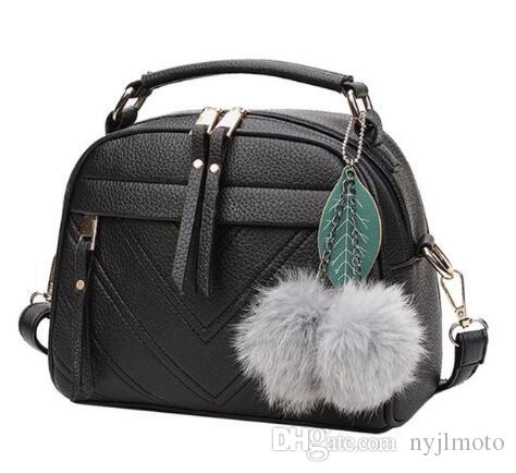 2019 New Girl Messenger Bags Fashion PU Leather Handbag for Women with Ball Toy Female Shoulder Bags Ladies Party Handbags Bolsa