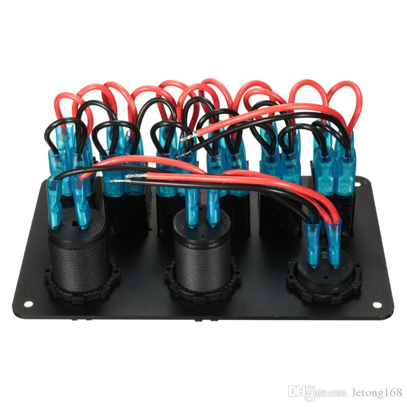Black Boat Marine Laser Red LED Rocker Switch Panel Circuit Breaker USB Charger Socket Pre-wired