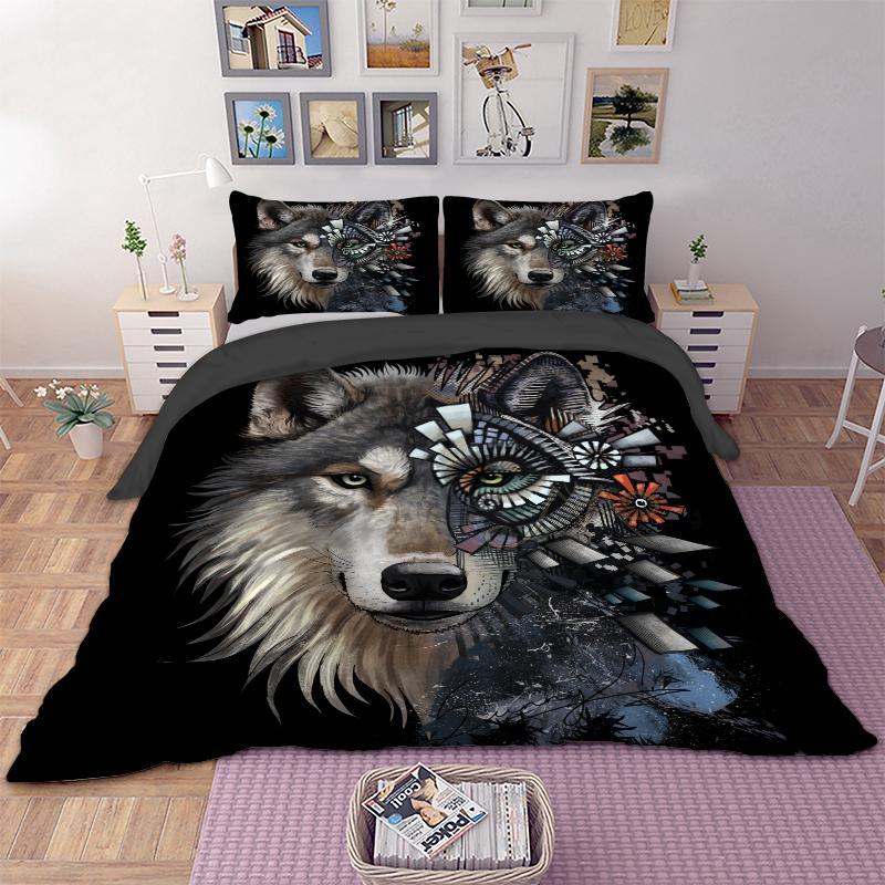 8a422867 Compre 3D Lobo Juego De Cama Funda Nórdica Animal Funda De Edredón Cama  Fundas De Almohada Textiles Para El Hogar 3 Unids Floral Cool A $84.13 Del  Sophine11 ...