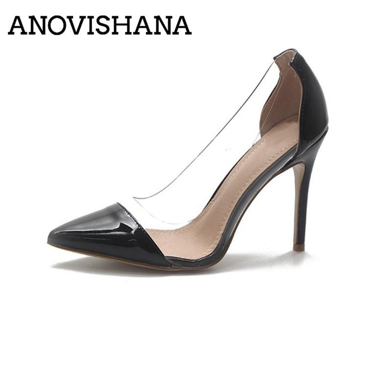 69a36447 Compre Vestido Anovishana Claro Pvc Bombas Transparentes Tacones Altos  Estiletes Punta Del Dedo Del Pie Mujeres Zapatos De Fiesta Discoteca Zapatos  ...