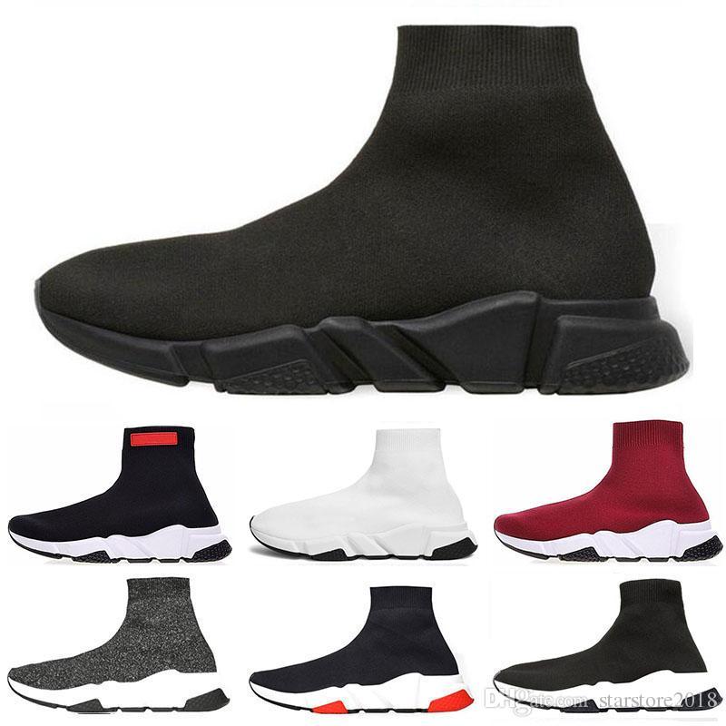 Balenciaga Promotion 2019 Geschwindigkeit Trainer Luxus Marke Schuhe rot grau schwarz weiß Flache Klassische Socken Stiefel Turnschuhe Frauen Trainer