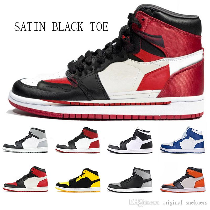 low priced 7d4a3 866ab SATIN BLACK TOE 1 High OG Bred Toe Chicago Banned Game Royal Basketball  Shoes Men 1s Top 3 Shattered Backboard Shadow Multicolor Sneakers