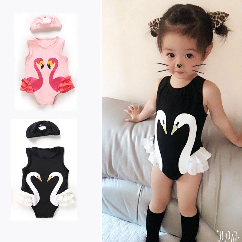 c7671e1ec04cd 2019 Girls Swimwear Cute Children Swimsuit Swan Flamingo Baby Girl Swimsuit  Swimming Cap Two Piece Swim Wear For Kids W95368 From Lisamami, $8.77 |  DHgate.