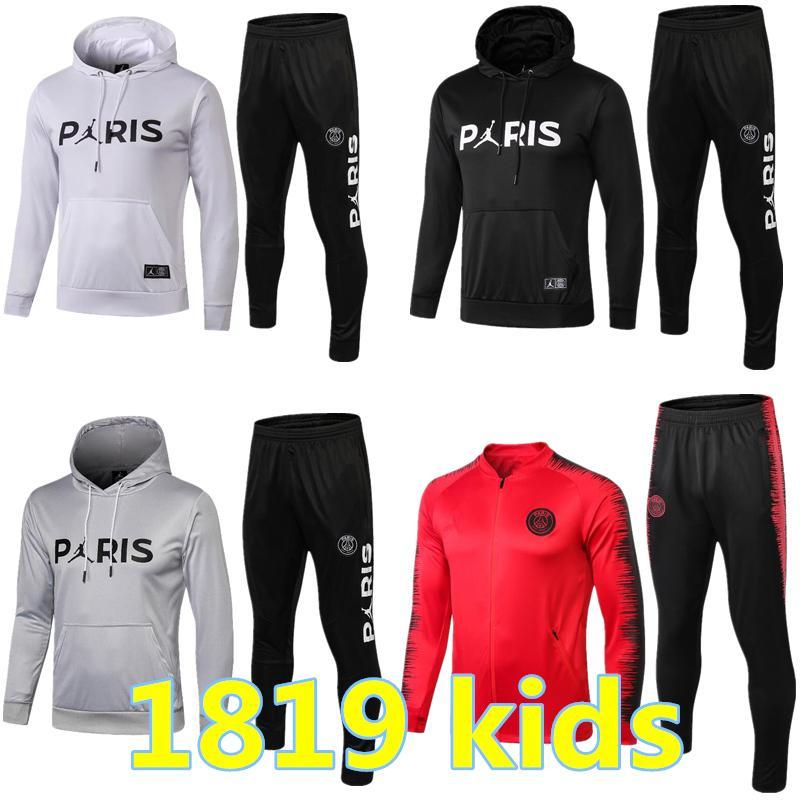 dfe393d50a738 Acheter Survêtement PSG Nouveau 2018 2019 KIDS Soccer Training 18 18 MBAPPE  CAVANI Maillot De Foot Paris À Capuche Enfant Sportswear De  38.48 Du ...