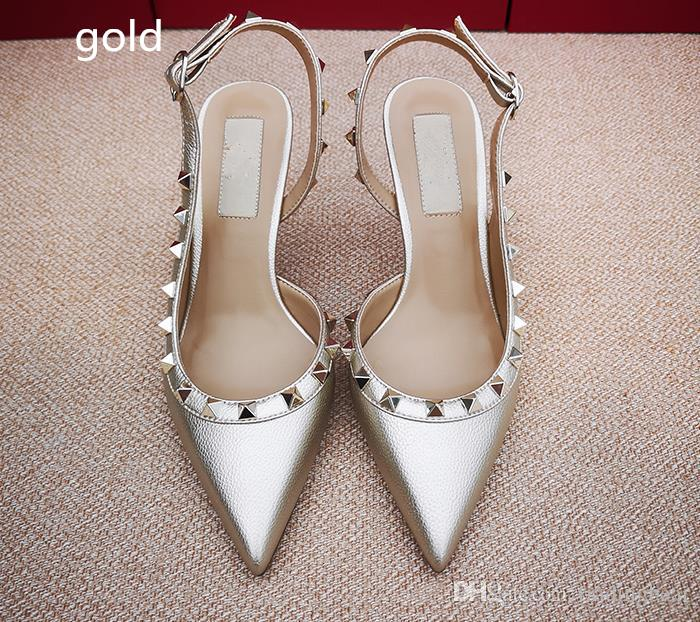 with box Hot Sell fashion rivets real leather white high heels pointed pumps designer pumps bridal wedding shoes Size 34 to 42 tradingbear