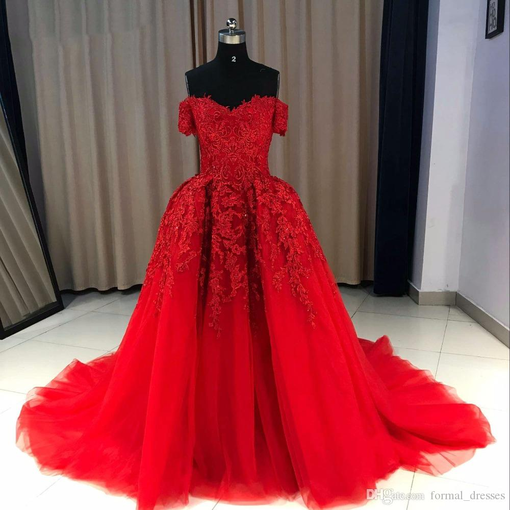 Elegant Lace Off Shoulder Prom Dresses Red Short Sleeve Crystal Evening Dress 2019 Ball Gown Party Dress Graduation Dresses robe de soiree