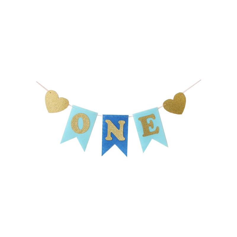 Baby First Birthday Blue & Pink Color Chair Banner ONE Year 1st Birthday Party Decoration Boy Girl Bunting Supplies