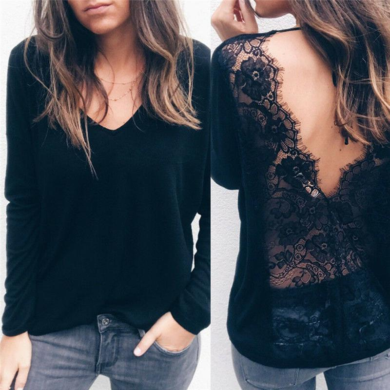 Hot Moda Women Black Floral Lace Patchwork T-Shirts Tops Casual Long Sleeve V Neck T Shirts Sexy Lady Spring Loose Fashion Tees