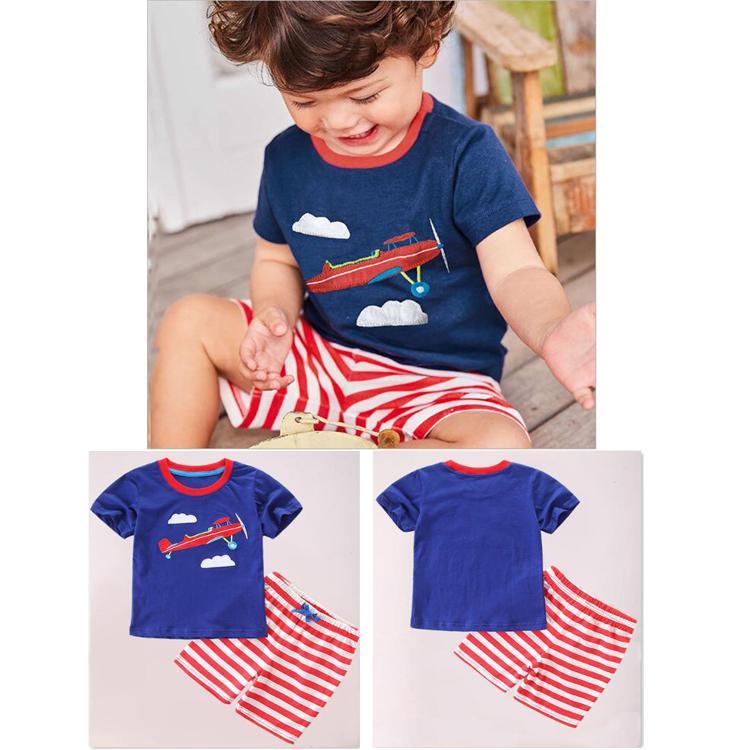 34dc26dea3b6d Acheter 100% Coton Bande Dessinée Rayé T Shirt + Shorts Enfants Ensembles  Bébé Garçons Nouvel Été Enfants Ensembles De Vêtements Enfants Designer  Vêtements ...