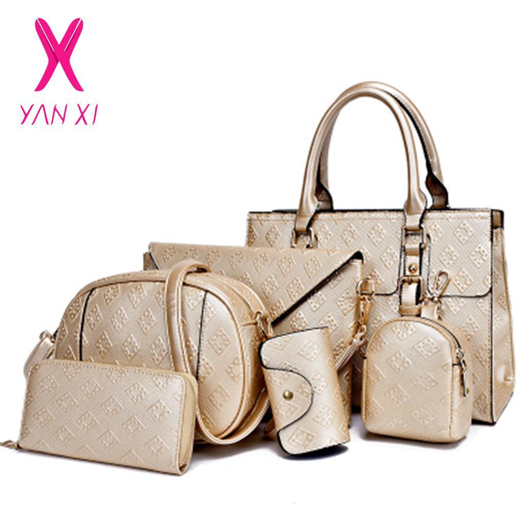 4ffc5c2d792fb 6PC Bags/Set Luxury Compostie Bags PU Leather Women Messenger Bag +Purse  +hand Bag +Key Clutch Shoulder Tote Lady Handbag