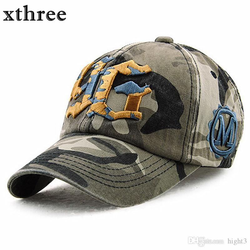 4e7770e3a02 Xthree Camouflage Baseball Cap Snapback Hat For Men Cap Women Gorra  Casquette Bone Swag Cap Wholesale Army Cap Cheap Hats From Hight3