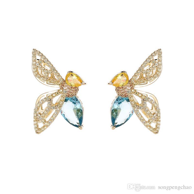 88b507acc Korean New Hollow Bee Earrings Fashion Shine Zircon Sexy Silver Needle  Earrings Delicate Sweet Simple Temperament Beauty Earrings Jewelry Stud  Earrings ...