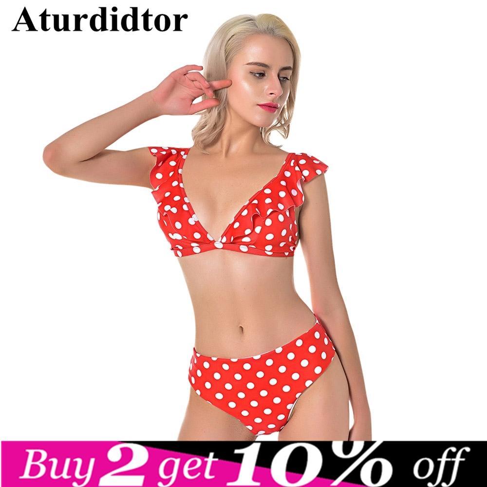 7046d5c7d8059 2019 Sexy Dot Bikinis Set High Waist Backless Swimsuit Vintage Retro Red  Swimwear Women'S Bathing Suit Female Beach Wear Biquini 2019 From Weskit,  ...