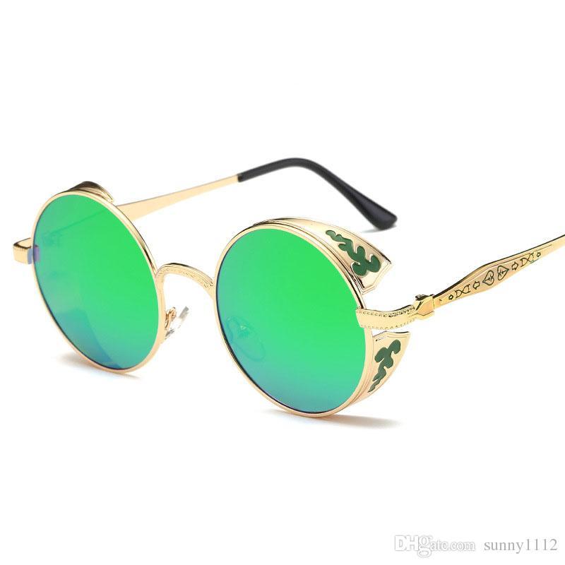 ec606e0ce Vintage Steampunk Sunglasses Polarized For Men Women Full Frame Brand  Designer Round Fashion Sun Glasses Oculos De Sol UV400 Knockaround  Sunglasses ...