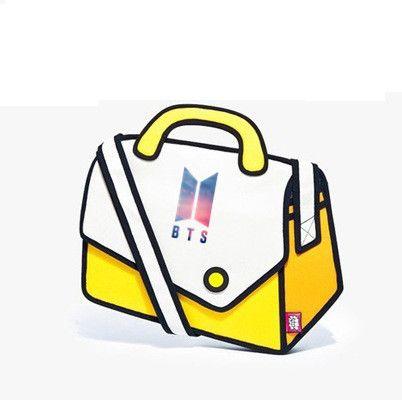 e566f1f2b5 HOT BTS 3D Jump Style 2D Drawing Cartoon Paper Bag Comic Shoulder ...