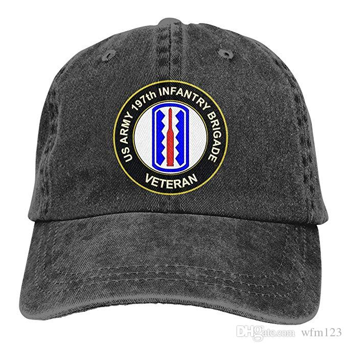 58a9ae8a6 2019 New Designer Baseball Caps US Army 197th Infantry Brigade Veteran Mens  Cotton Adjustable Washed Twill Baseball Cap Hat
