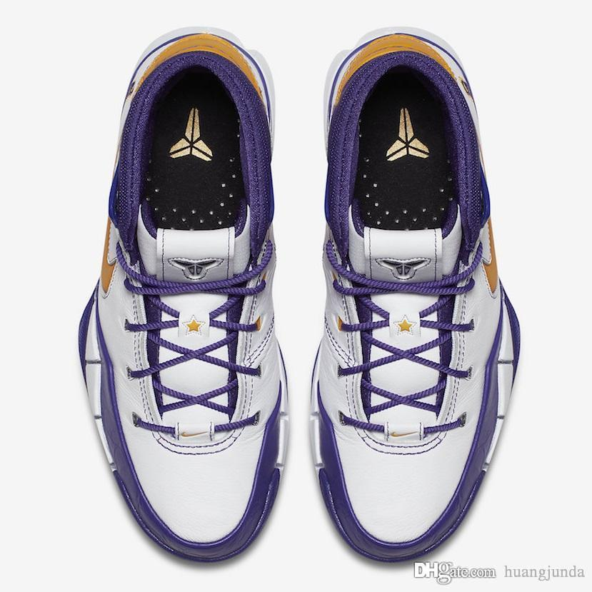 a15b4e05776 Cheap Cheap 2018 New Mens Kobe 1 Protro Basketball Shoes Final Second Close  out White Purple Zoom Air KB ZK1 High Tops Sneakers with Original Box