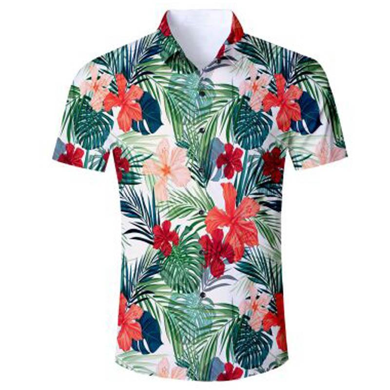 ea75e19b2fd8 Summer 2018 Men's Hawaiian Shirt Short Sleeve Mens Dress Shirts Slim Fit  Camisa Masculina Hawaii Casual Male Flower Print Shirt. Store-wide Discount
