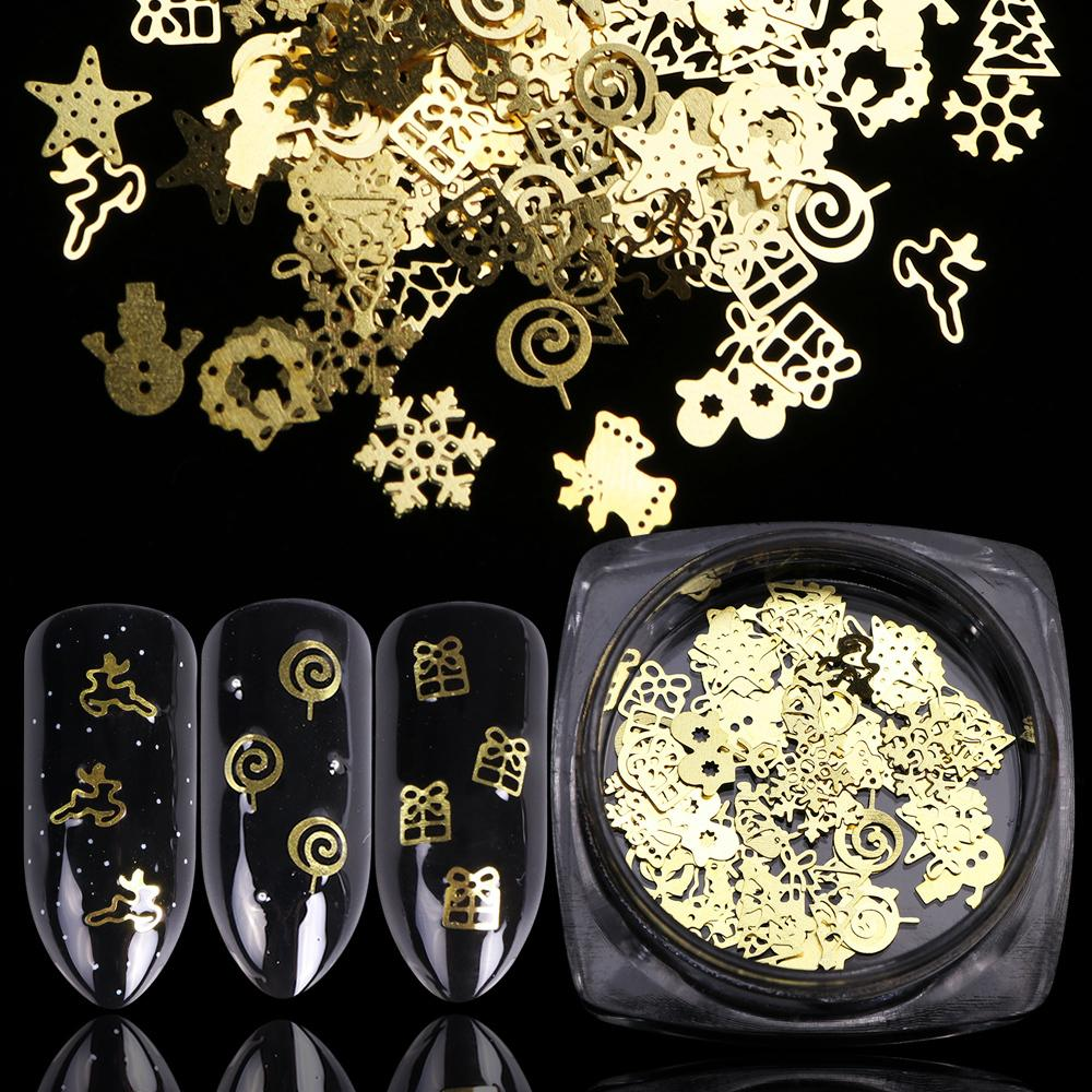 1 Bottle 3d Gold Hollow Christmas Pillette Nail Art Decorations Snowflake Star Mixed Design Glitter Nail Charms Manicure La886