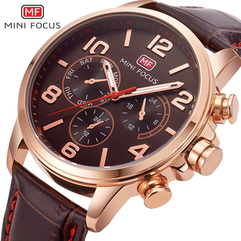 1e01e100387 Compre MINI FOCO Top Marca De Luxo Relógio De Quartzo Dos Homens De Couro  Marrom Strap 3 Sub Dial Chronograph Moda Relógios De Pulso Para Homens  Melhor ...