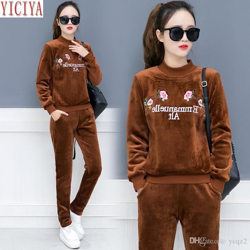 f441f53f1c1 2019 Winter Velvet Set Tracksuits Women Outfits Plus Size Thick Warm Pants  Suits And Top Sportswear Co Ord Set Autumn Clothes From Ycqz2