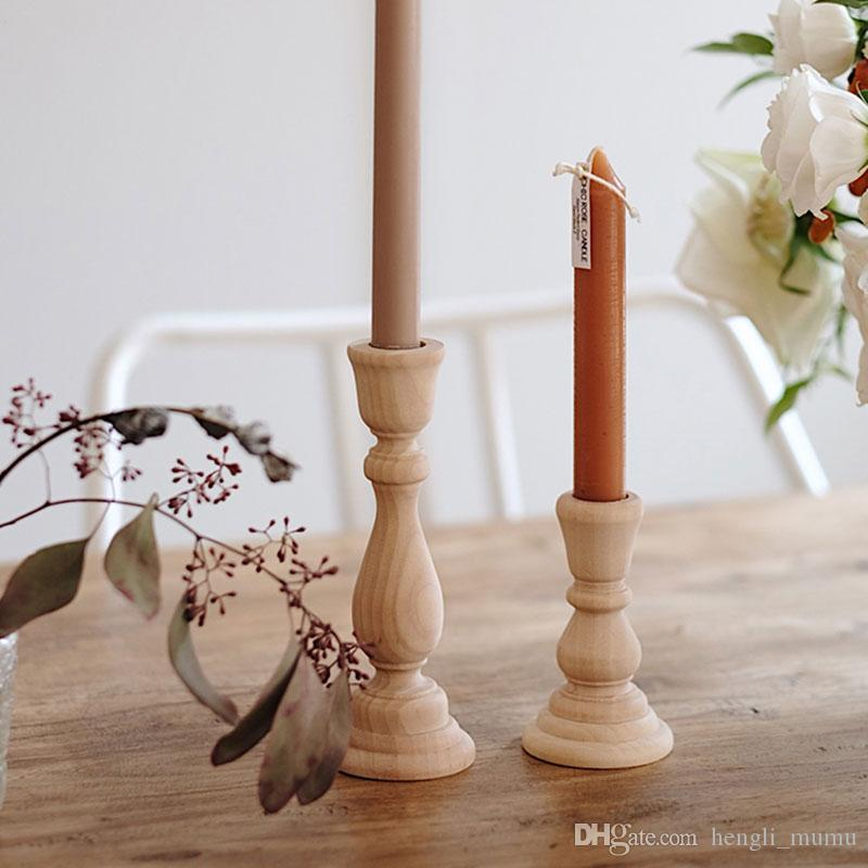 candle hold Candlesticks Holders Retro Unfinished Candlesticks Unpainted Wood Classic Craft Candlesticks Holders Wedding Decorations ZJ0149