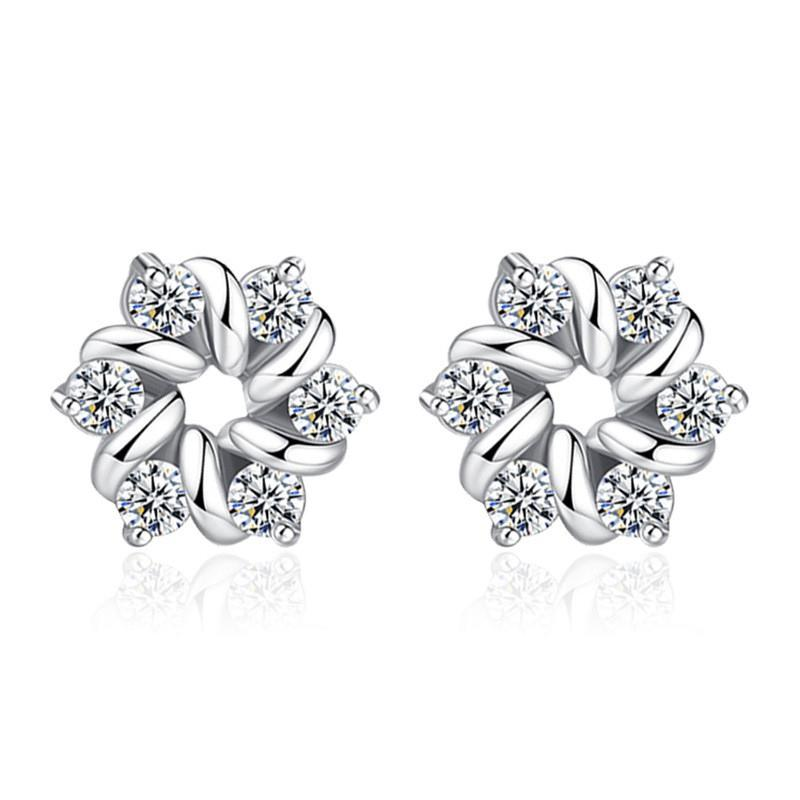 bd2afd9f1 Clear Cubic Zirconia Stud Earrings For Women Korea Trendy Jewelry ...