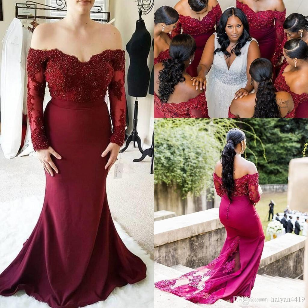2019 New Burgundy Mermaid Bridesmaid Dresses Off Shoulder Long Sleeves Lace  Appliques Beads Wedding Guest Dress Formal Maid Of Honor Gowns Pale Blue ... f0ff86ba7ba7