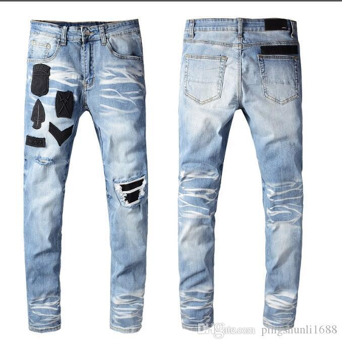 Nouveau AM Homme Jeans Pantalons Coton Hip Hop Distressed Jeans biker Ripped Pants Mens Denim Holes Skinny Jeans Zipper Taille 28-40