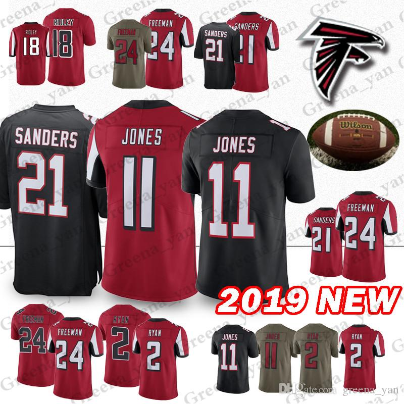quality design ac05b adbf6 Atlanta jerseys Falcon 11 Julio Jones 2 Matt Ryan 24 Devonta Freeman 21  Deion Sanders 18 Ridley jersey Embroidery Logos Youth and Adult