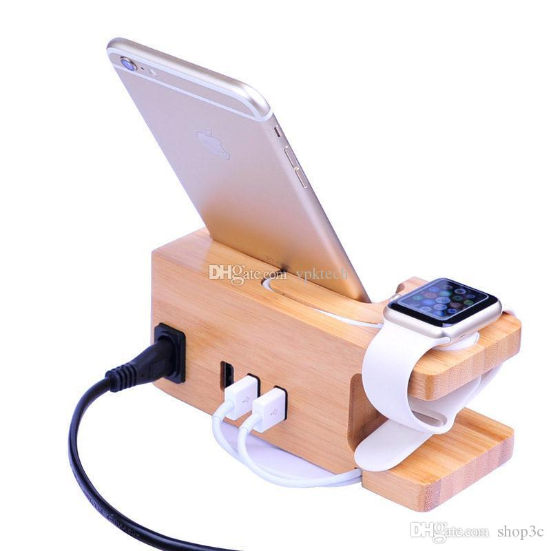 1PCS Cell Phone Charger mounts holders Natural Bamboo Platform With USB Ports 3A fast charging for Apple Iwatch Samsung Huawei Smart Phone