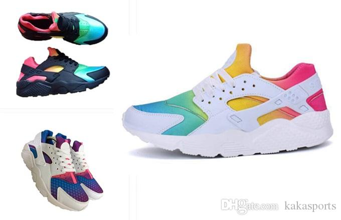 1c5f94c84323 2018 New Air Huarache Rainbow Sky Blue Running Shoes For Men And Women  Huaraches Ultra Shoes Multicolor Black Huarache White Sneakers Shoes Men  Tennis Shoes ...