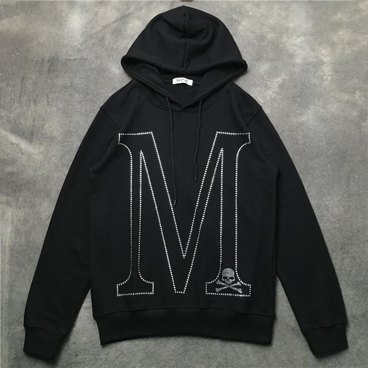 New 19ss Men Hot Drilling M Skull Monster Hoodies Hoody Hooded Sweatshirts Velvet Cotton Drake Thick Fleece Street Hip Hop #g96